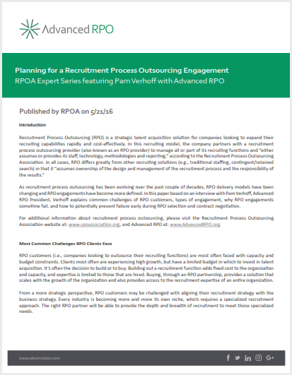 Advanced RPO | Planning Recruitment Process Outsourcing Engagement